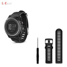 Leegoal 26mm Outdoor Sport Silicone Strap Watchband Replacement Soft Silicone Watch Band for Garmin Fenix 3 with Screwdriver