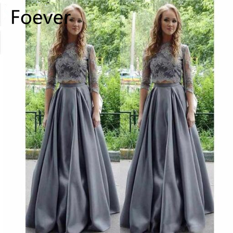 Vestido Longo Festa Lace Appliques High Neck 3/4 Sleeves Gray Satin Two Piece Prom Dress 2019