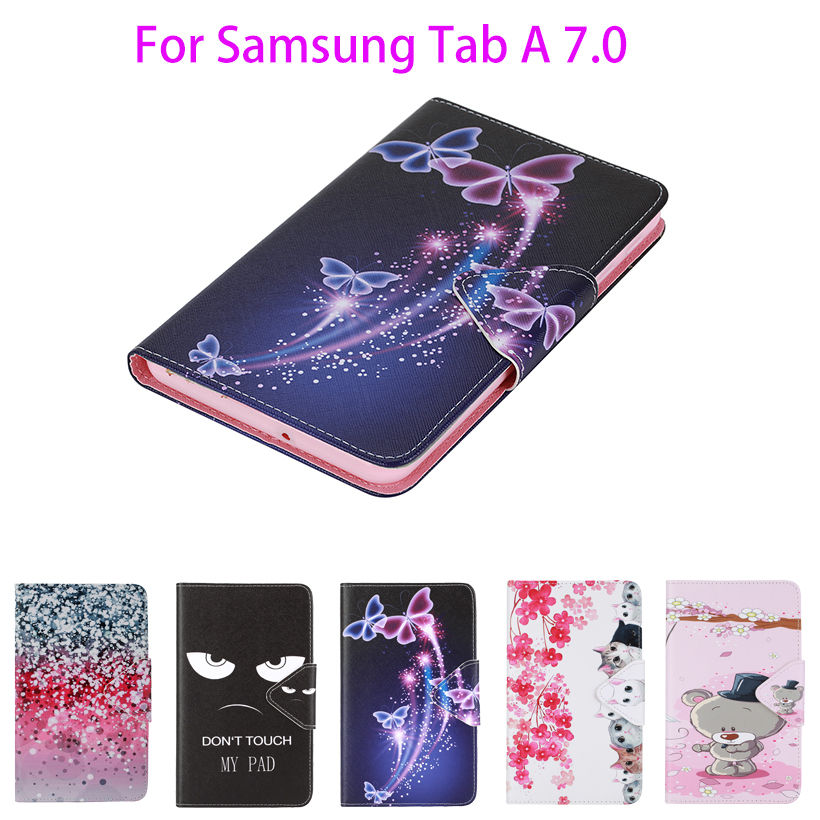 2016 Tab a6 7.0 Case For Samsung Galaxy Tab A 7.0 T280 T285 SM-T280 SM-T285 Case Cover Tablet Fashion Painted Flip Funda Shell pu leather case for samsung galaxy tab a a6 7 0 t280 t285 sm t280 sm t285 covers case tablet business flip stand shell funda