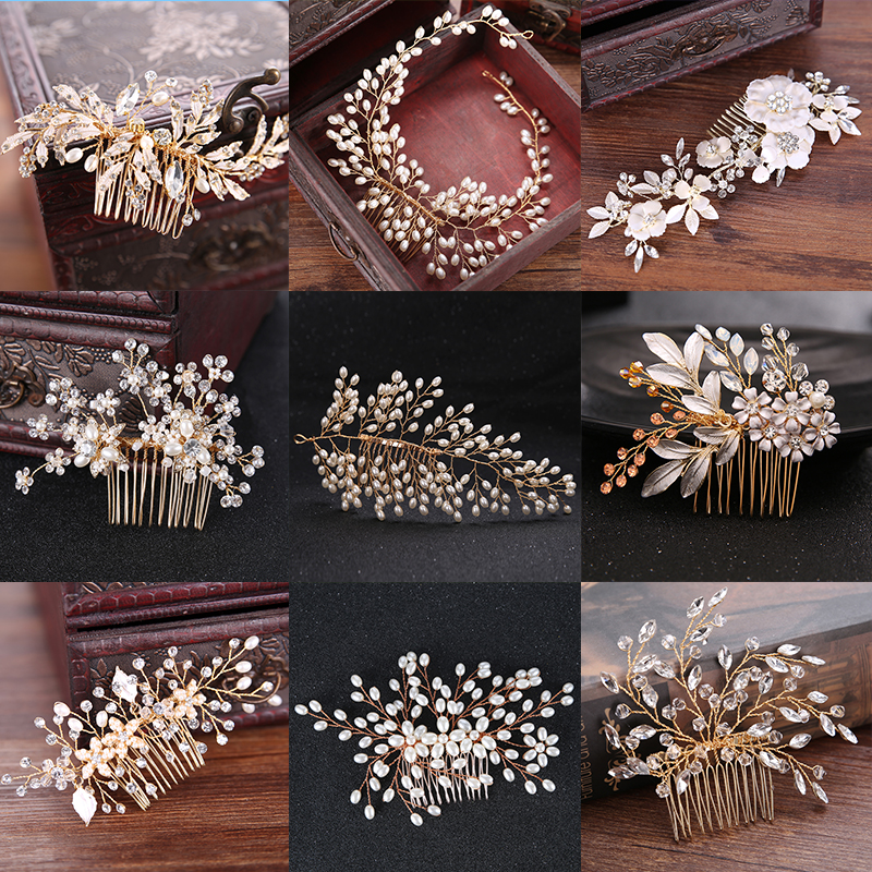 Many Style Gold Color Crystal Simulated Pearl Hair Comb For Wedding Hair Accessories Handmade Bride Hair Jewelry Headpiece Tiara 03 red gold bride wedding hair tiaras ancient chinese empress hat bride hair piece