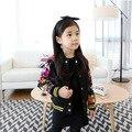 Spring's New Girls Korean Fashion Floral Baseball Kids Jacket Clothing Flowers Print Black