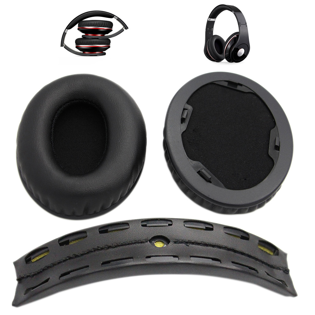 1 Pair Replacement Ear Pads + Headband Cushion For Beats By Dr Dre Studio 1.0 Headphone White/Black GDeals
