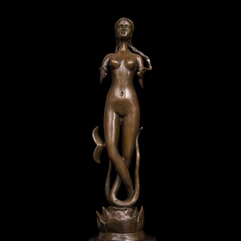 ATLIE BRONZES gift pure bronze western mythology figurine beauty mermaids statue vintage craft brass mermaid figurines