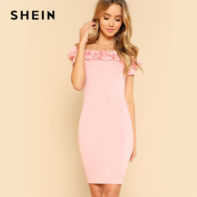 5a101e419a922 US $35.0 |SHEIN Pink Layered Ruffle Trim Bardot Plain Dress Women Off The  Shoulder Short Sleeve Sexy Bodycon Dress 2018 Short Party Dress-in Dresses  ...
