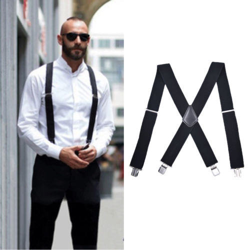 Mens Braces Suspenders Black 120cm X Back Heavy Duty Biker Snowboard Trousers Suspenders Straps Black Wide 5cm