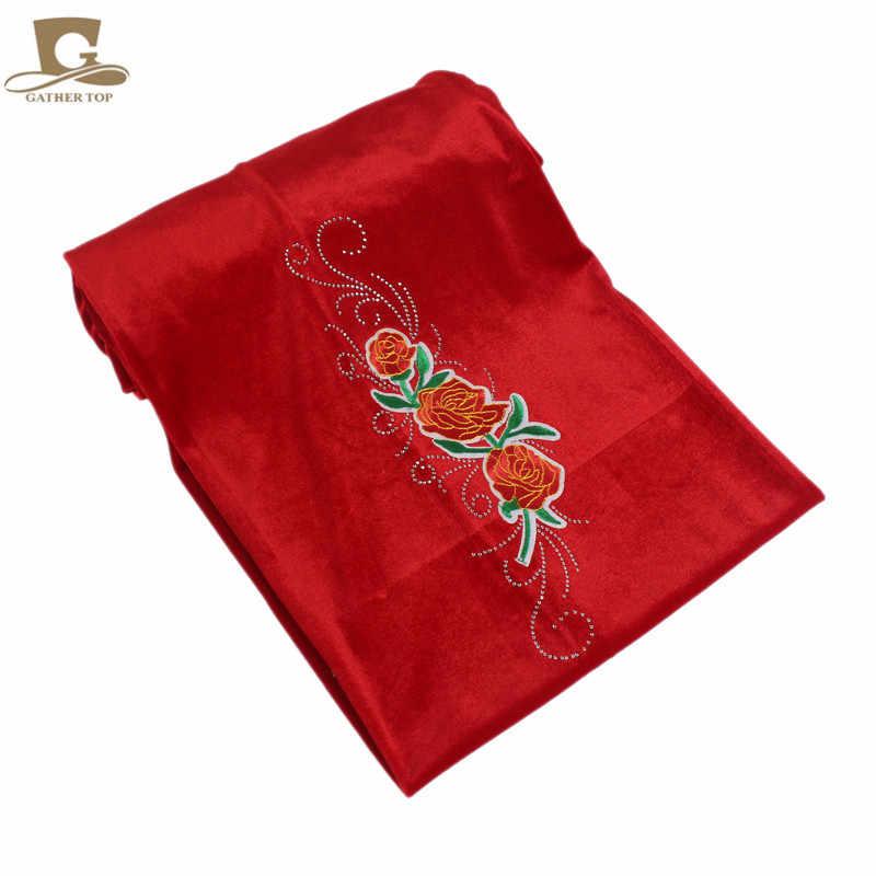 5 шт./партия, роскошный бархатный нигерийский тюрбан со стразами, розовый хиджаб с цветочным узором, удлиненный шарф, Женский тюрбан