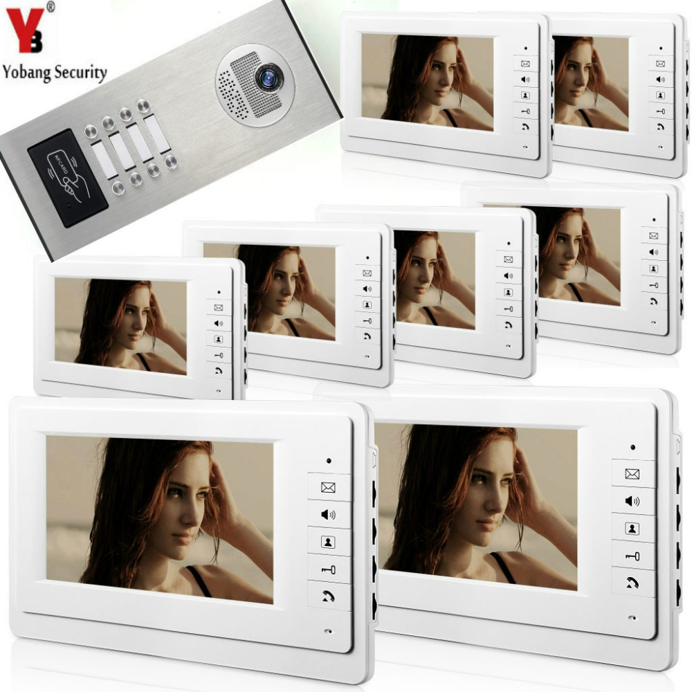 Yobang Security 7 LCD Color Wired White Monitors IR 1000 TVL Video Camera Door Phone System For Multi 8 Apartments/Family/Home david lindahl multi family millions how anyone can reposition apartments for big profits
