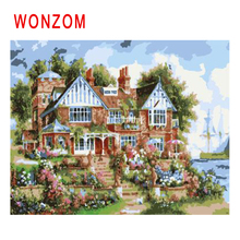 WONZOM Seaside Villa Diy Painting By Numbers Oil Garden Cuadros Decoracion Acrylic Paint On Canvas Modern Home Wall Art