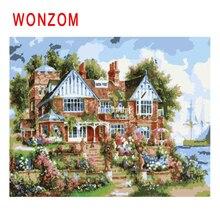 WONZOM Seaside Villa Diy Painting By Numbers Oil Garden Cuadros Decoracion Acrylic Paint On Canvas Modern Home Wall Art