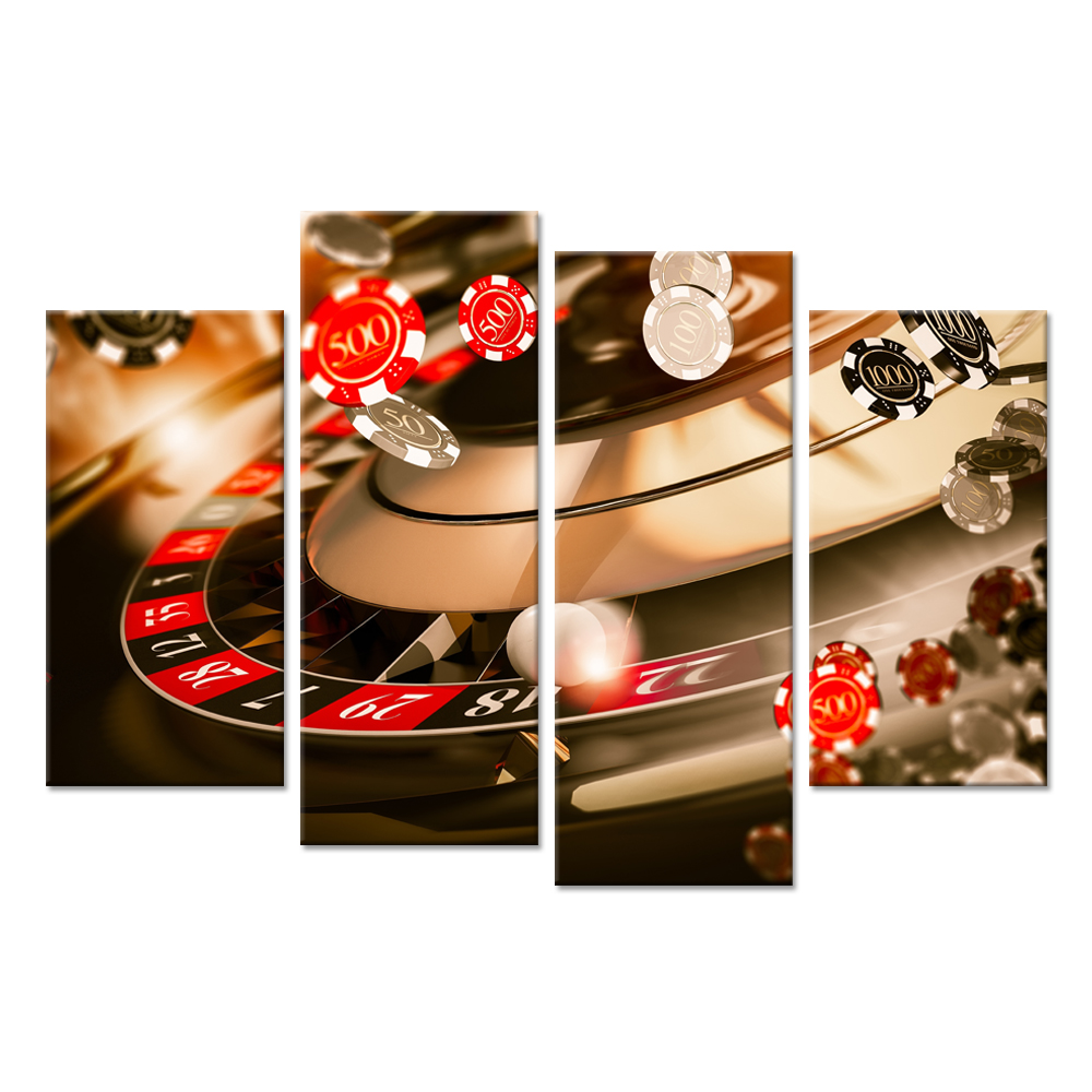 Modern 4 Panel Canvas Wall Art Poker Chips On Revolving Table Entertainment Games For Modern Home Decor Game Room Decoration