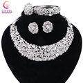 Women white crystal jewelry sets with earrings statement necklace boho Trendy necklace for party wedding 2016 Direct Selling