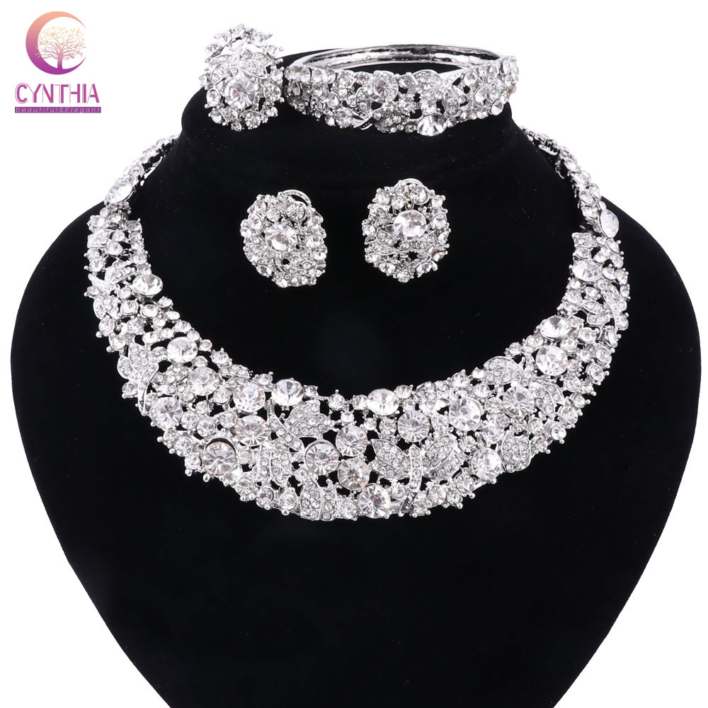 Women white crystal jewelry sets with earrings statement necklace boho Trendy necklace for party wedding 2017 Direct Selling