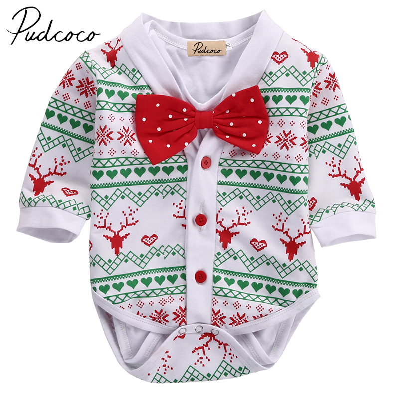 PUDCOCO Cotton Infant Baby Girl Boy Snowflake Coat Outwear Romper Christmas 2pcs Outfits Set