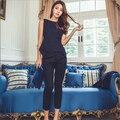 Moda Strench Mulheres de Negócio Ternos Escritório Formal Ternos Trabalho Uniforme projetos Das Mulheres Top e Calça Cropped 2 Peça Definir Mais tamanho