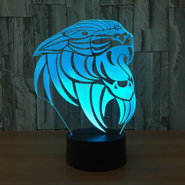 Lion 3d Lamp 7 Color Led Night Lamps For Kids Touch Led Usb Table ...