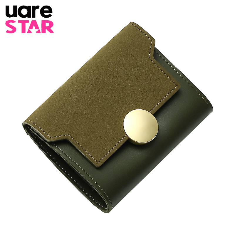 Womens purse and wallets three folders women wallets high quality matte leather patchwork design ladies wallets and purse