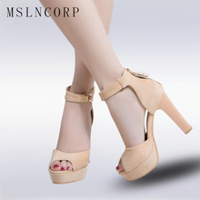 big Size 34-43 Sexy Summer Shoes Fashion High Heels Women Sandals Sexy Platform Peep Toe Buckle Strap Woman Party Wedding Sandal women sandals platform size fashion hoof high heels sexy party for ladies shoes ankle buckle strap rivets decoration sandals