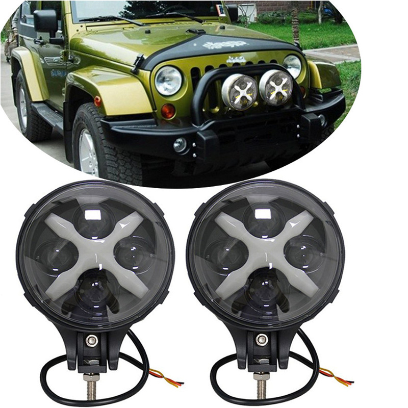 2Pcs 6 Inch LED Auxiliary Light 60W Car Spotlight/Fog Light with X Angel Eyes DRL Driving for Off Road 4X4 Vehicle Trucks цена
