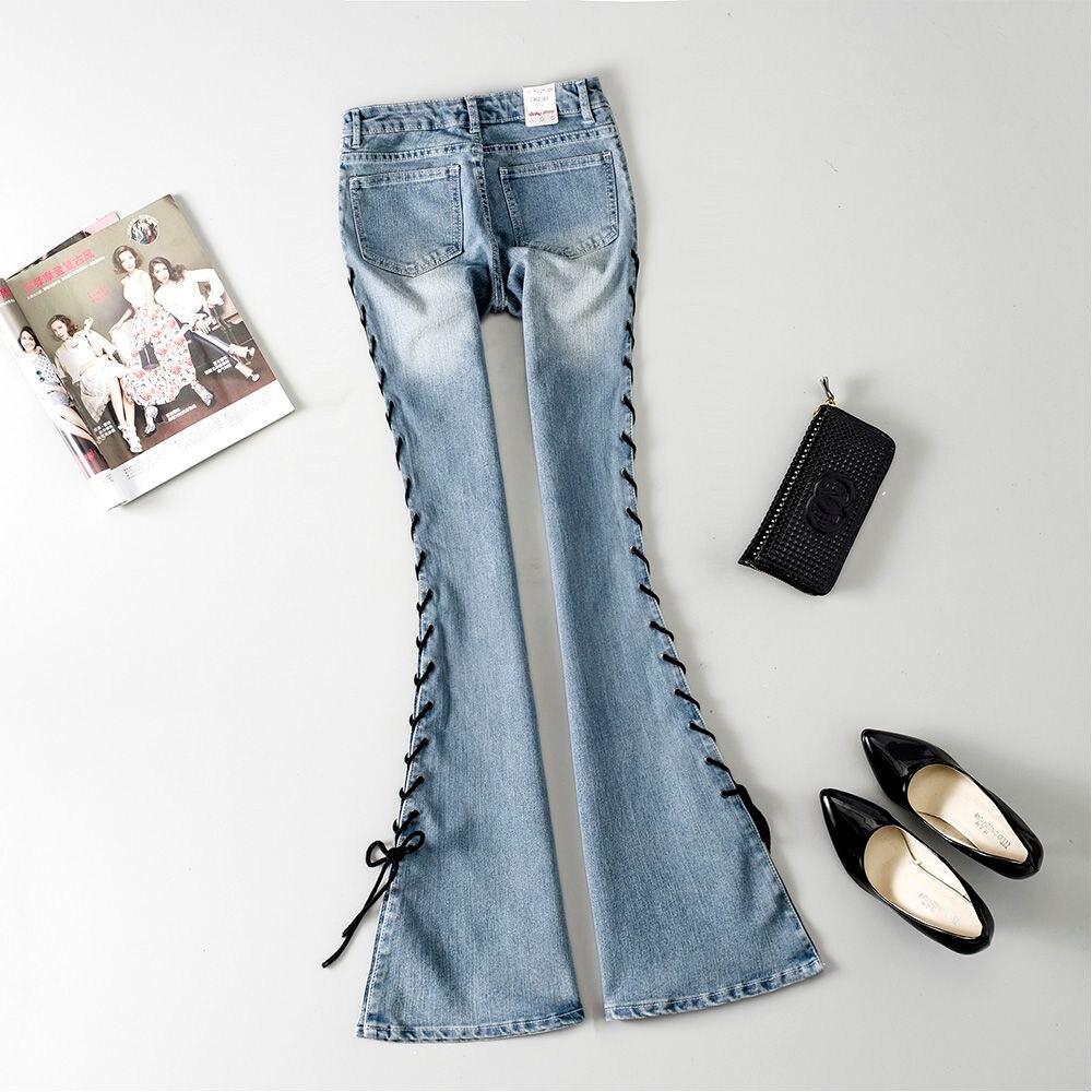 Femmes Taille Mince Cut Pantalon De Jeans 3 Du 021308 2 Mode Denim Mi Fond Boot Vintage 1 Cloche Croix Sapin Flare tdsrhQCoxB