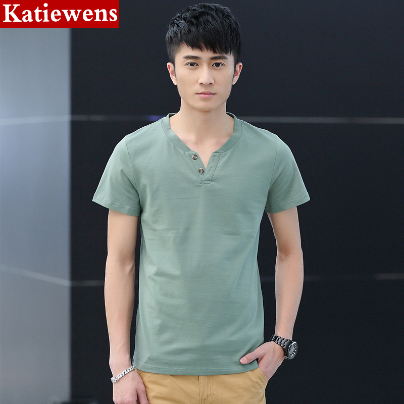 Short-sleeve T-shirt male the trend teenage clothes heart-shaped V-neck simple loose handsome