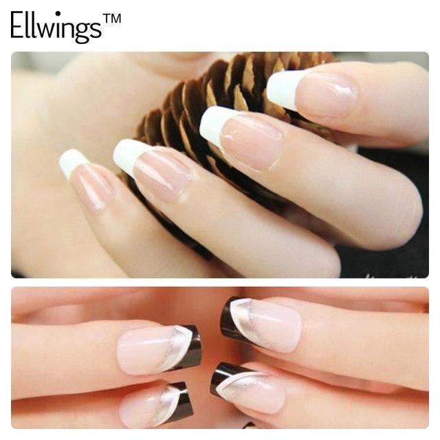 Online Shop Ellwings 2pcs French Manicure Black White Nails Gel