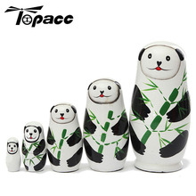 5Pcs Panda Animal Russian Wood Nesting Cute Lovely Doll Stacking Decoration New Dolls Wooden Hand Painted Children Gift Toy 5pcs cute wooden dolls animal paint nesting babushka russian dolls children early education birthday matryoshka gift