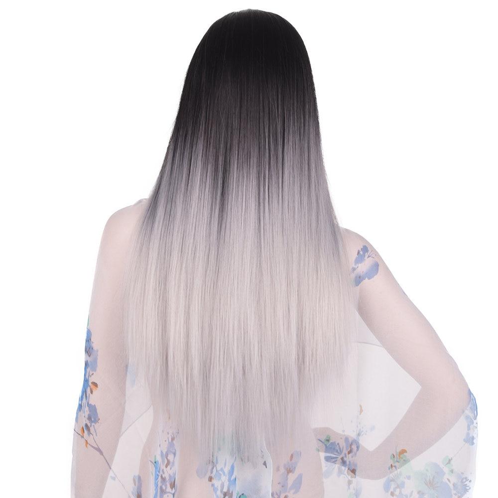 Feilimei Ombre Grey Wig Synthetic Kanekalon 24 Inch 280g Long Straight Femals Full Head Black Blue Gray Wigs for Women Hair
