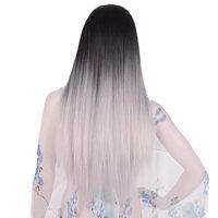 Feilimei Ombre Grigio Parrucca Sintetica 24 Pollice 280g Lungo Rettilineo capelli Femals Testa Completa Nero Blu Viola Marrone Grigio Cosplay parrucche