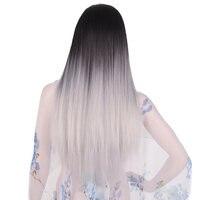 Feilimei Ombre Grey Wig Synthetic Kanekalon 24 Inch 280g Long Straight Femals Full Head Black Blue
