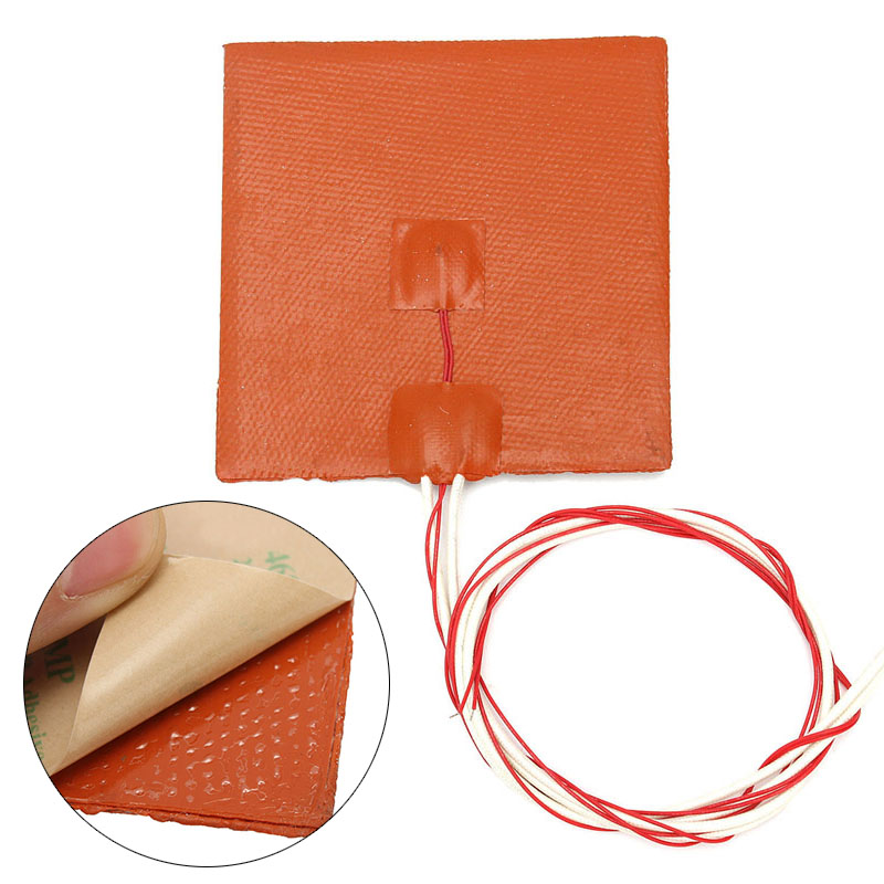 12x12cm Silicone 120W 12V Heating Pad Heater Heating Mat For 3D Printer Heated Bed Printer Tool Parts Silicon Heater Pad 150x150mm 150w 12v silicone heater pad for 3d printer heated bed 3m psa ntc100k silicone heating element pad mat flexible heater