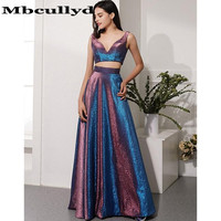 Mbcullyd Vestidos De Gala Sexy Two Pieces Long Prom Dresses 2020 A line V Neck Formal Party Gowns for Graduation Free Shipping