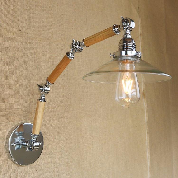 Wooden Retro Loft Vintage Industrial Wall Light Fixtures With Adjustable Long Arm LED Edison Wall Sconce Lamp Arandela Lamparas