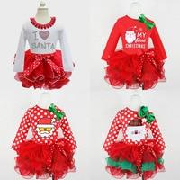 2017 Newborn Baby Girl Vestiti Piccolo Cotoni Autunno Vestito Di Natale Rosso Manica Lunga Abito di Sfera Abiti Per Bambini Abbigliamento per bambini