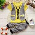 BibiCola Baby Boy Комплект Одежды лета детская Одежда Джентльменский набор Костюм Мальчиков с коротким Рукавом Футболки + Брюки детская Одежда Набор