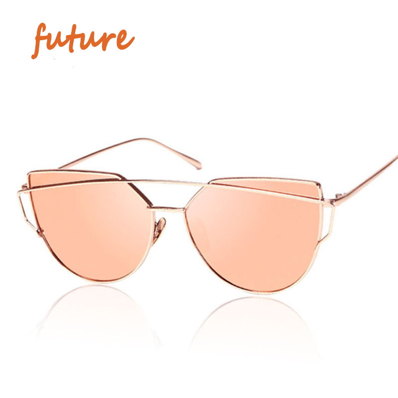 2016 new cat eye sunglasses women vintage fashion rose gold mirror sun glasses unique flat ladies
