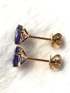 Image 2 - Natural tanzanite rose gold earring, 18K rose gold, rare tanzanite in round 6mm*6mm , classical style, fashion and popular