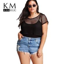 Kissmilk Plus Size Mesh Sheer Zipper Back Basic Women Tops O Neck Short Sleeve Sexy Transparent T shirt Large Size T Shirt  цена 2017