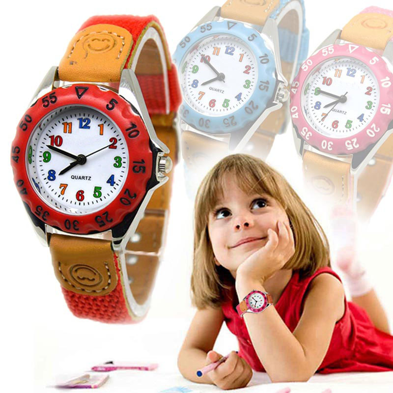 Cute Boys Girls Quartz Watch Kids Children's Fabric Strap Student Time Clock Wristwatch Gifts J55
