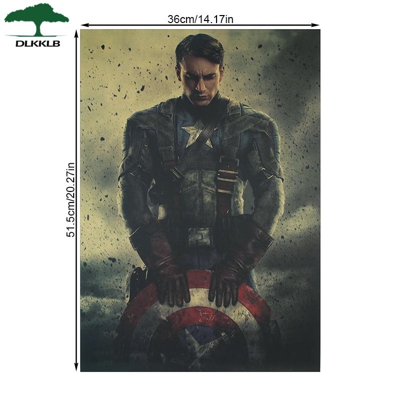 DLKKLB Марвел супергерой ВИНТАЖНЫЙ ПЛАКАТ Американский капитан вдохновляющий домашний декор настенные наклейки декоративная Ретро картина
