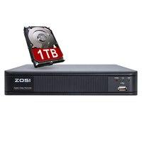 ZOSI 4 канала цифрового видео Регистраторы Полный 720 P видеонаблюдения DVR H.264 HDMI 1080 P видео Выход 4ch видеонаблюдения видеорегистратор с 1 ТБ HDD