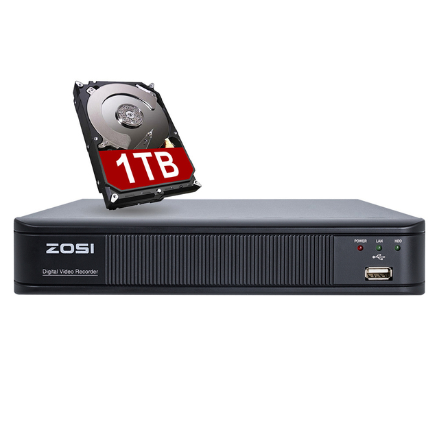 US $129 99 |ZOSI 4 Channel Digital Video Recorder Full 720P CCTV DVR H 264  HDMI 1080P Video Output 4ch CCTV Surveillance DVR with 1TB HDD-in
