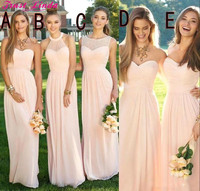 2018 Pink Navy Cheap Long Bridesmaid Dresses Mixed Neckline Flow Chiffon Summer Blush Bridesmaid Formal Prom