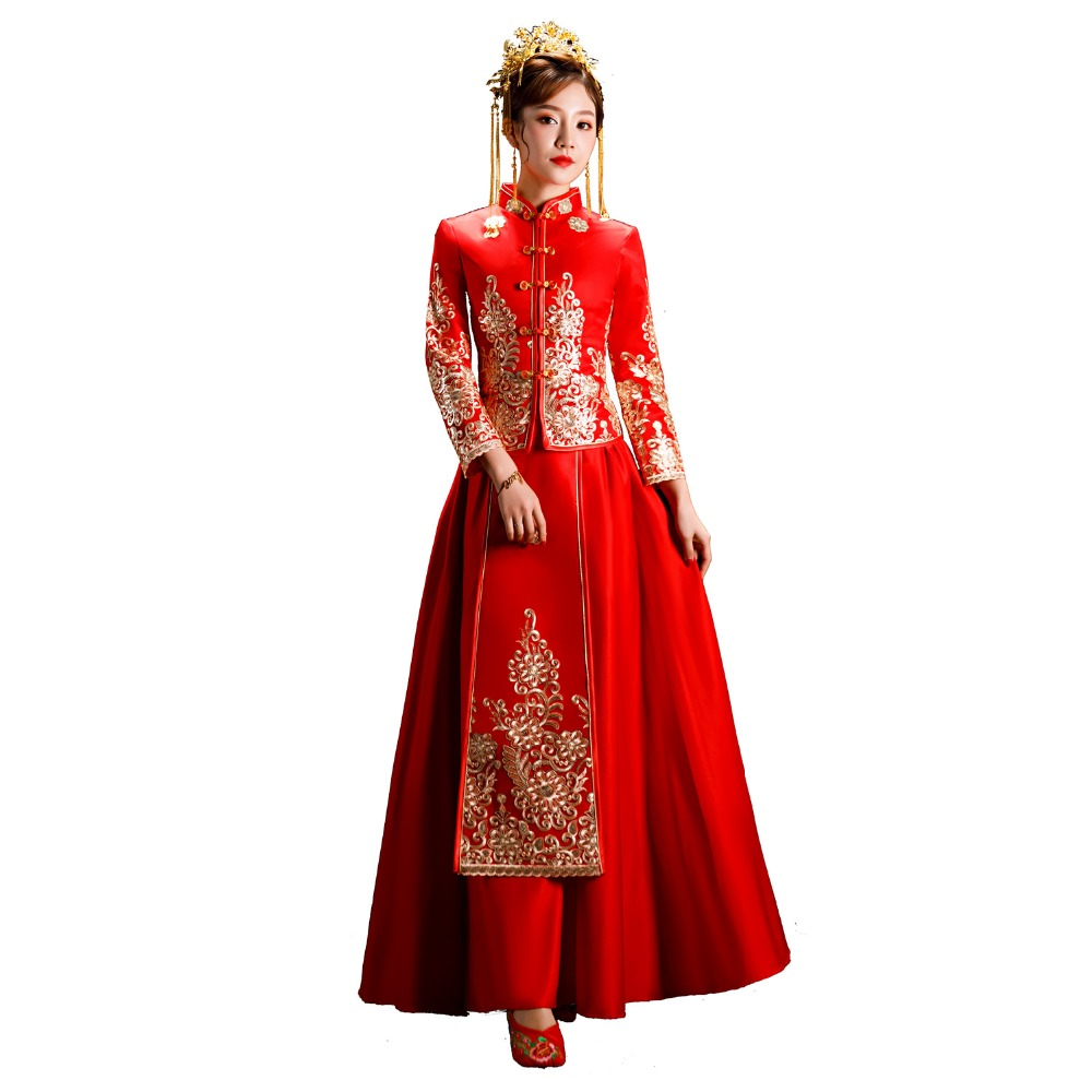Shanghai Story traditional chinese wedding Suit Qipao Women's Dress Chinese Style Dress Cheongsam Xiuhe Set
