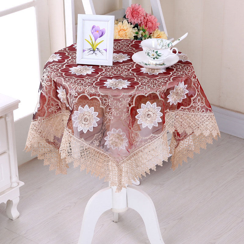 Furniture Dust Cover Fabric: Embroidered Tablecloth Yarn Home Dinner Table Cloth