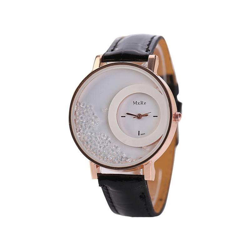 Femmes montres dames en cuir Quartz montres Quicksand strass Bracelet montre-Bracelet relogios feminino montre femme # D 6