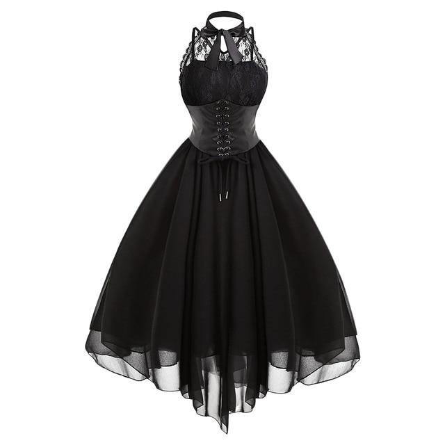 a4840e795d Kenancy Gothic Women Dress Vestidos Mujer Party Dress 2018 Black Cross Back  Lace Panel Bow Corset Dresses Women s Vintage Dress
