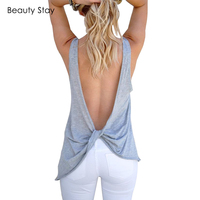 BeautyStay Women Basic Casual Beach Tank Tops Deep V Back Open Solid Color Vest Sleeveless Sexy