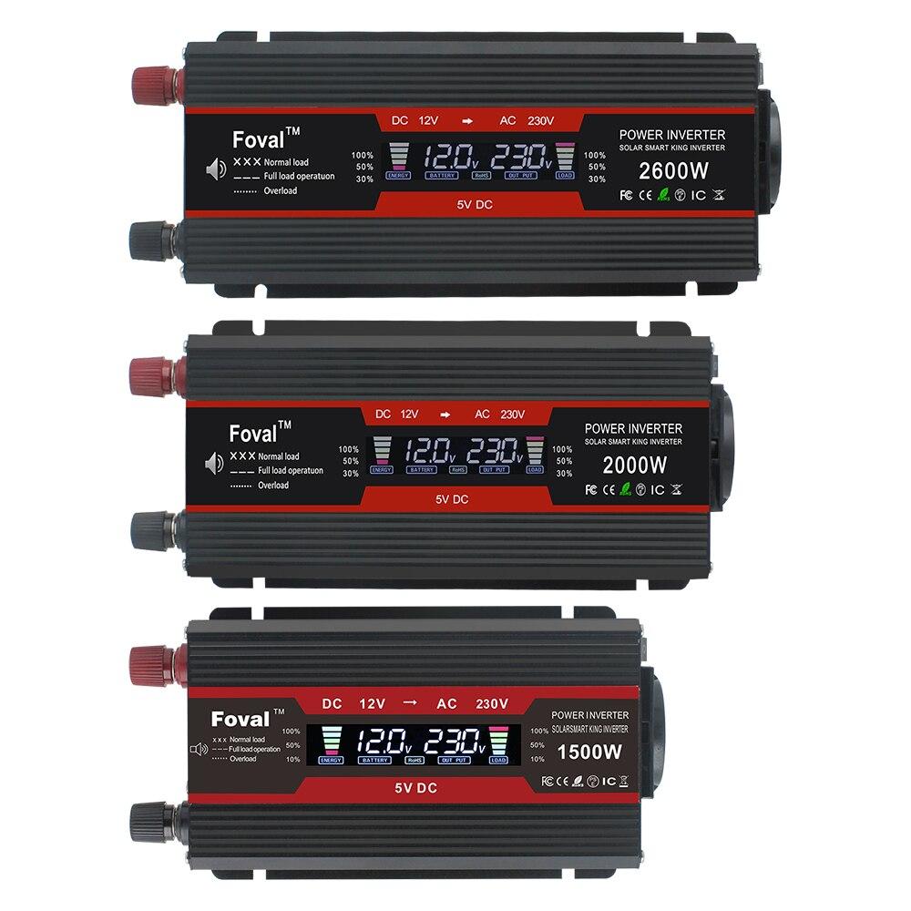 1500 W/2000 W/2600 W onduleur à onde sinusoïdale modifiée affichage LCD DC 12 V à AC 220 V solaire 2 USB transformateur de voiture convertir prise EU - 6