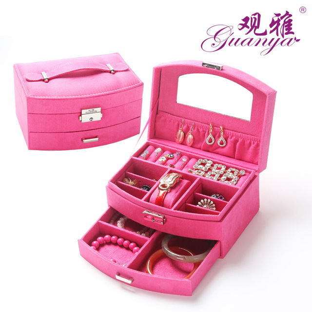 Flannelette Wooden Fan Jewelry Box Jewelry Boxes, Cosmetic Boxes, Double