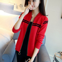 Women sweater cardigan zipper 2018 new autumn and winter trends female knitwear patchwork teenage knitted coat red black A40